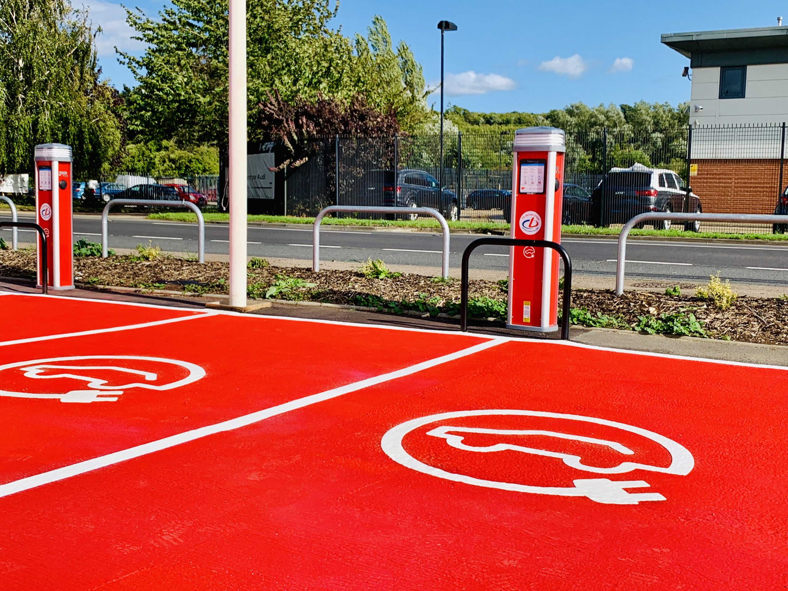 Red paint bay marking by SRG Electrical